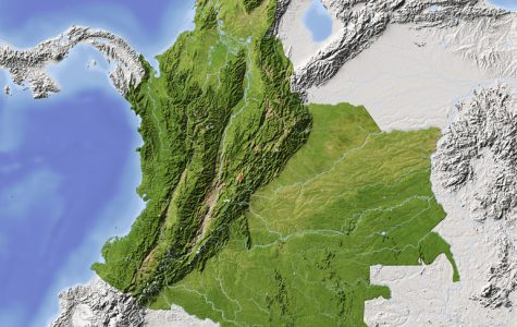 Colombia. Shaded relief map, colored for vegetation.